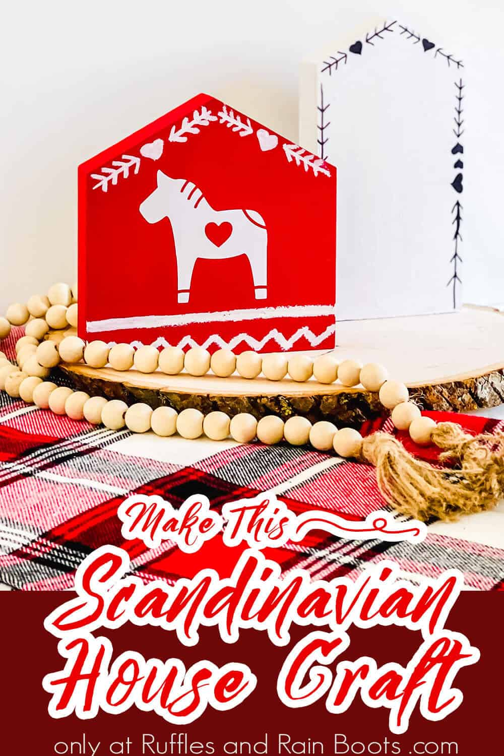 diy scandinavian tiered tray filler with text which reads make this scandinavian house craft