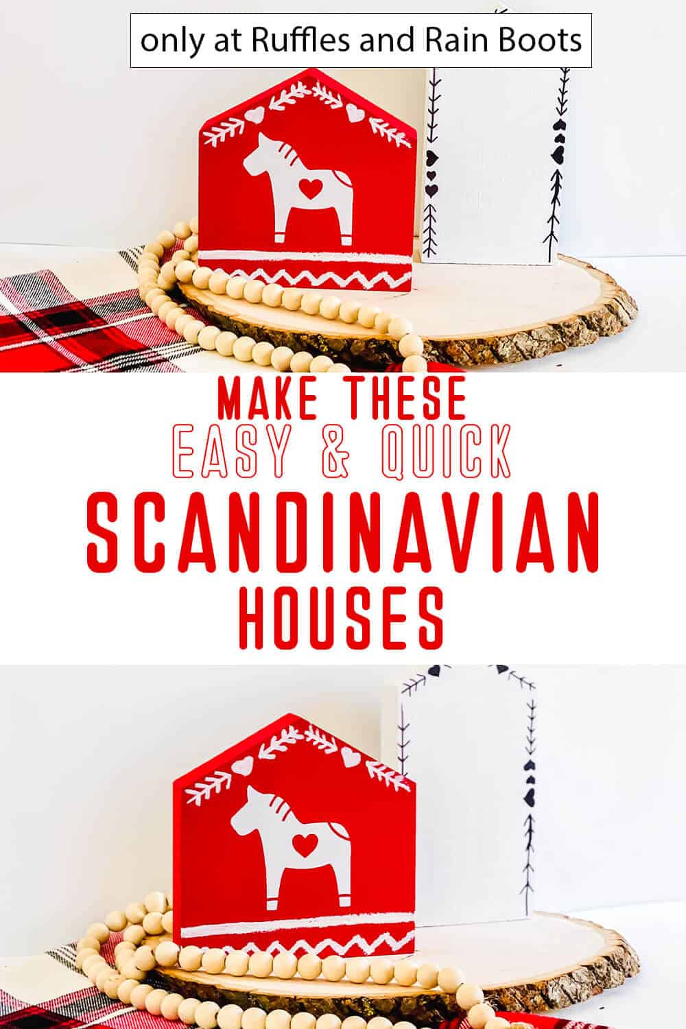 photo collage of DIY dala horse house cricut craft with make these easy and quick scandinavian houses