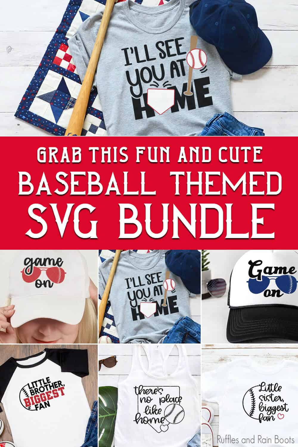 photo collage of cricut baseball cut file bundle with text which reads grab this fun and cute baseball themed svg bundle