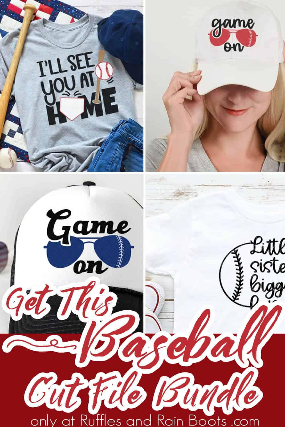 photo collage of baseball cut file bundle with text which reads get this baseball cut file bundle