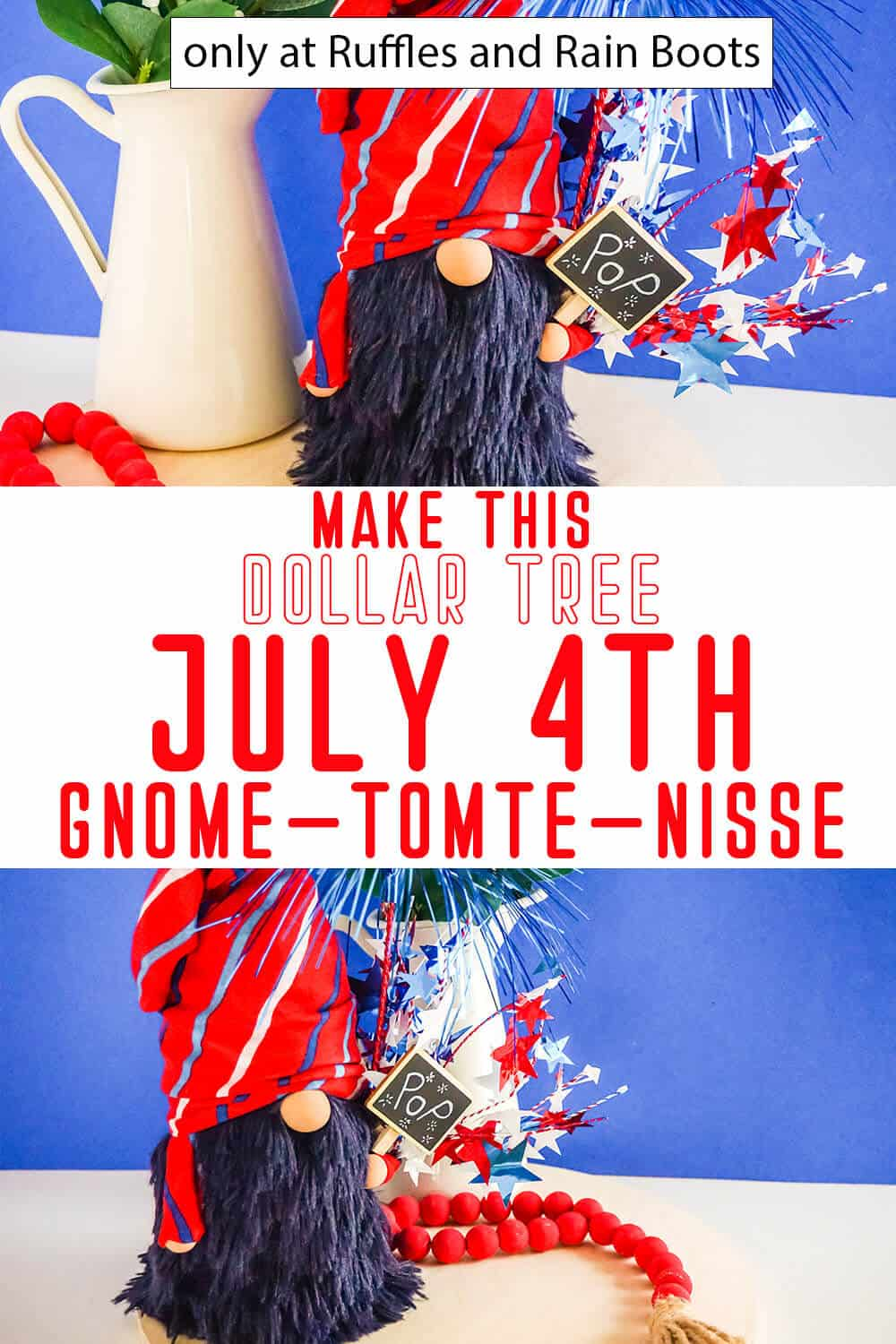 photo collage of july 4th dollar tree sock gnome with text which reads make this dollar tree july 4th gnome tomte nisse