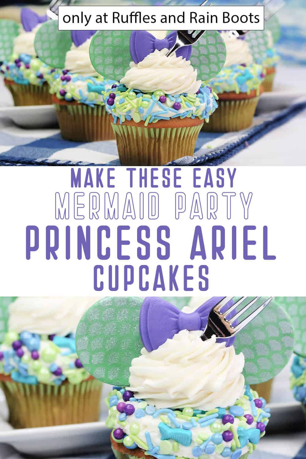 photo collage of disney princess ariel cupcakes with text which reads make these easy mermaid party princess ariel cupcakes