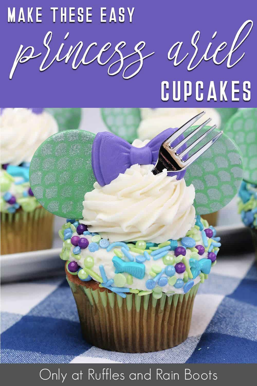 disney little mermaid princess ariel cupcakes with text which reads make these easy princes ariel cupcakes