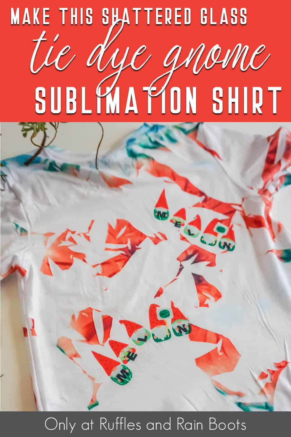 tik tok shattered glass sublimation shirt with gnomes with text which reads make this shattered glass tie dye gnome sublimation shirt
