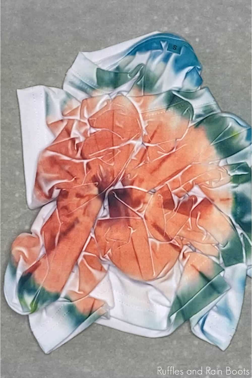 in-process step of making a sublimation tie dye shirt tutorail