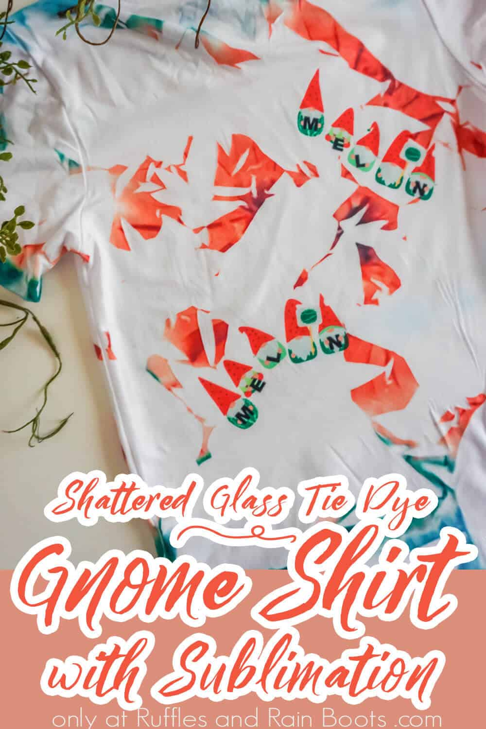 sublimation gnome shirt with text which reads shattered glass tie dye gnome shirt with sublimation