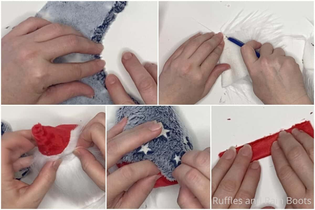 photo collage tutorial of how to make a gnome for july 4th