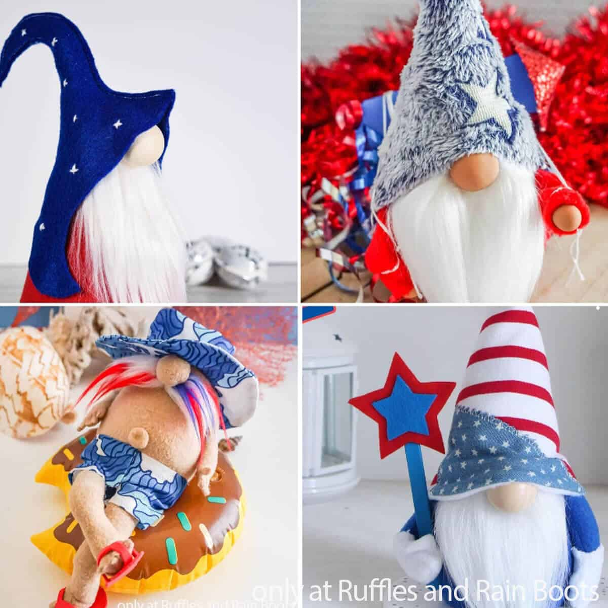 photo collage of the best july 4th gnome patterns and tutorials