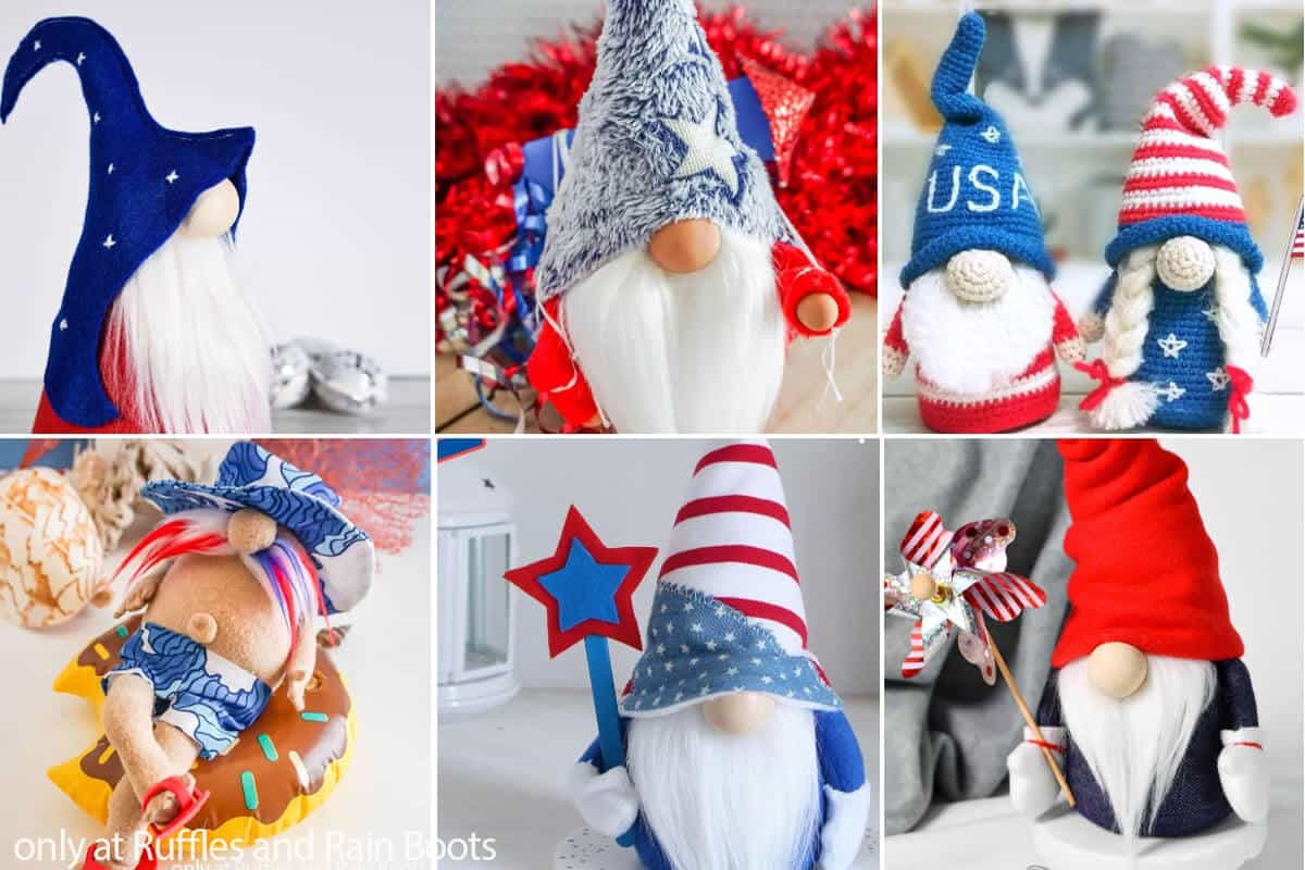 photo collage of patterns for july 4th gnomes