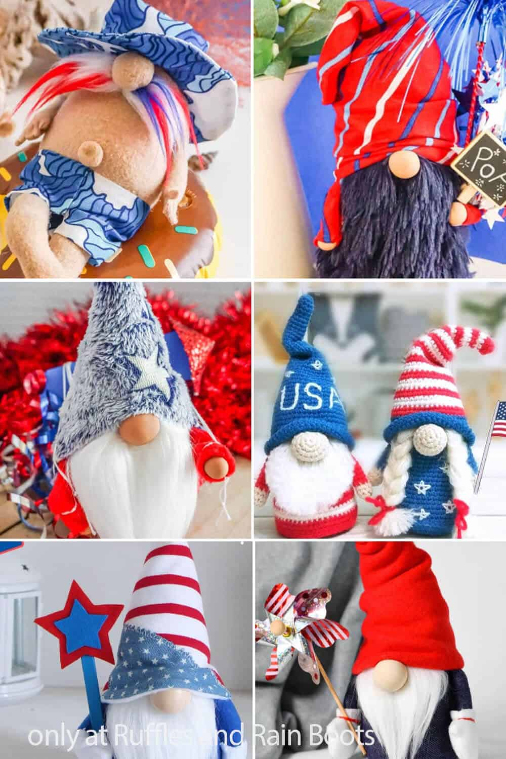 photo collage of diy july 4th gnome patterns and tutorials