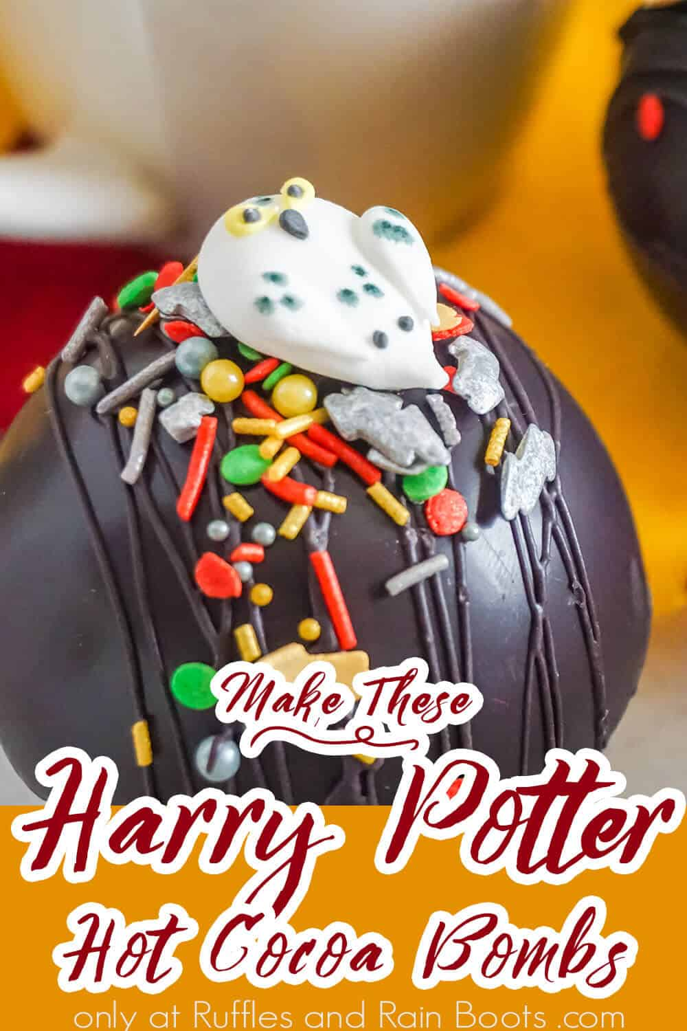 wizard hot cocoa bombs with text which reads make these harry potter hot cocoa bombs