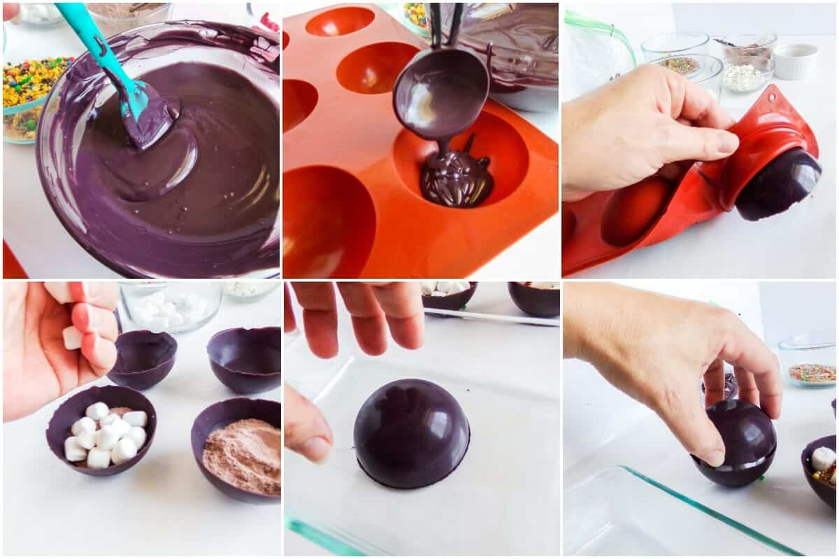 photo collage tutorial of how to make harry potter hot cocoa bombs
