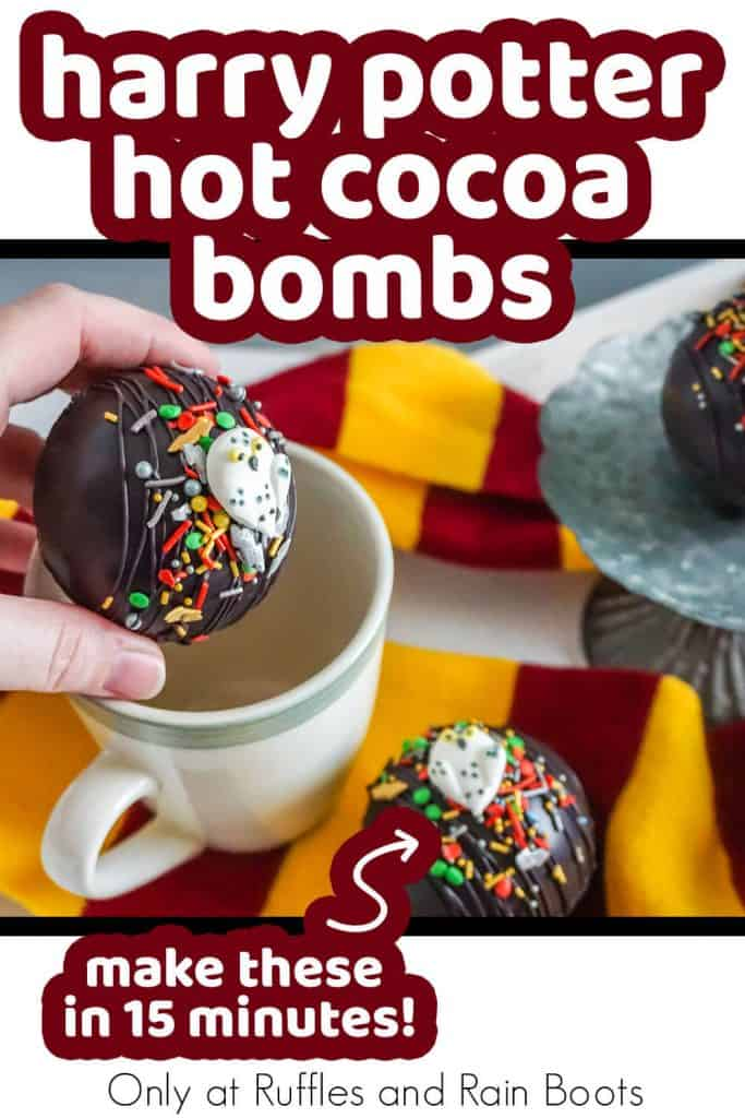 hot cocoa bombs for harry potter movie night with text which reads harry potter hot cocoa bombs make these in 15 minutes
