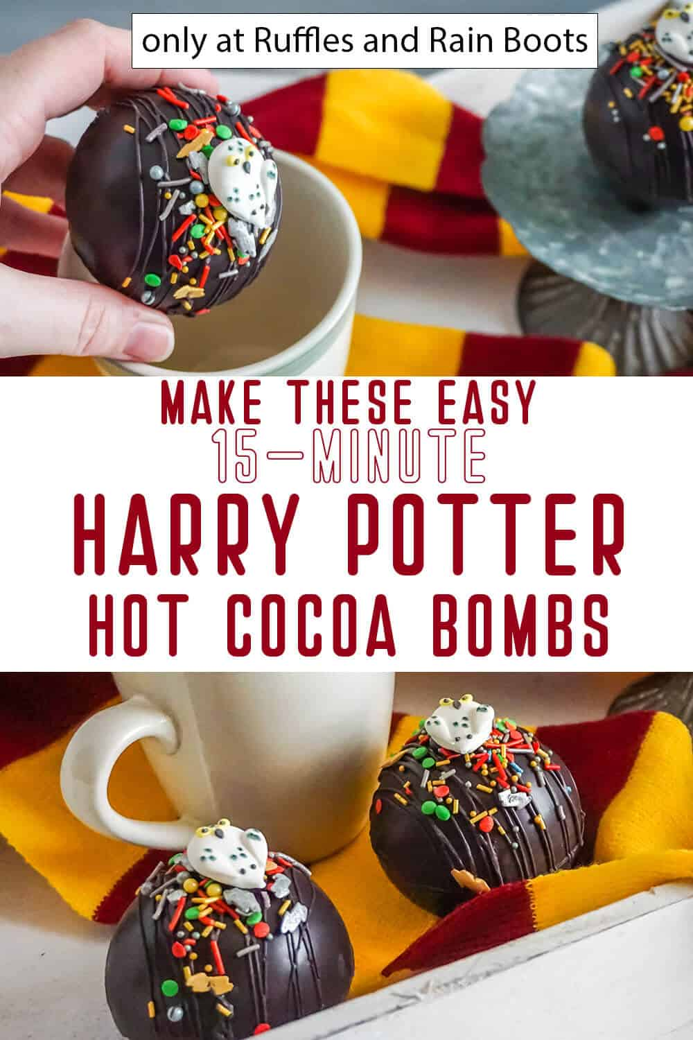 photo collage of harry potter hot chocolate bombs with text which reads make these easy 15-minute harry potter hot cocoa bombs