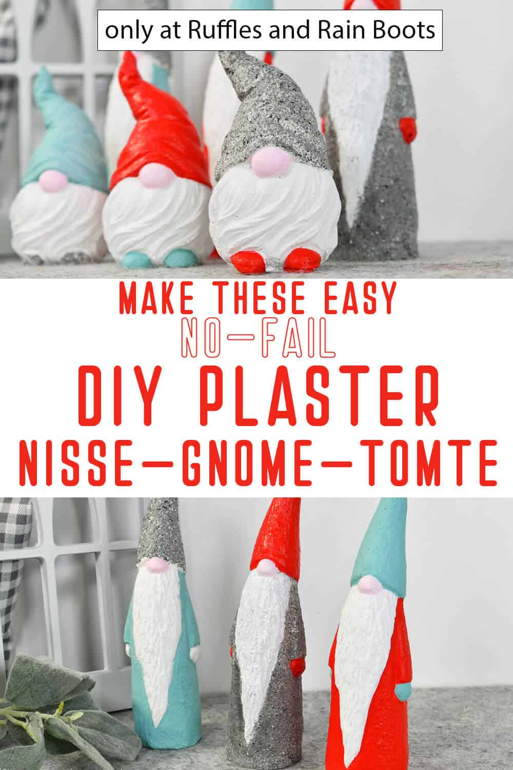photo collage of plaster gnome molded with text which reads make these easy no-fail diy plaster nisse gnome tomte