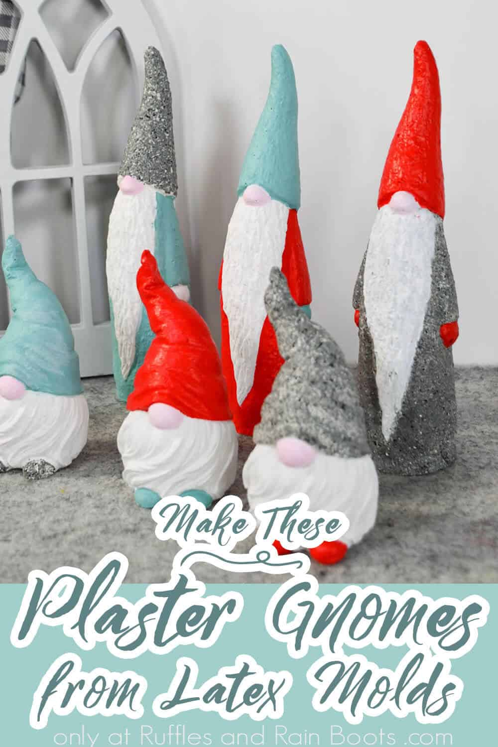 diy molded gnomes using plaster with text which reads make these plaster gnomes from latex molds