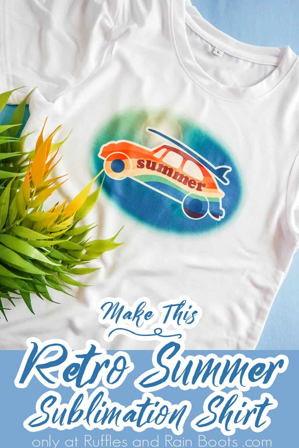 retro summer sublimation file on a shirt with text which reads make this retro summer sublimation shirt