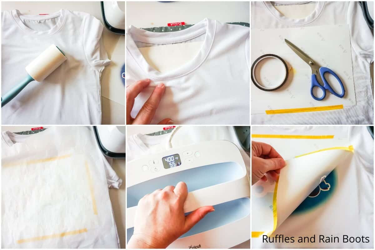 photo collage tutorial of how to make a retro summer sublimation shirt