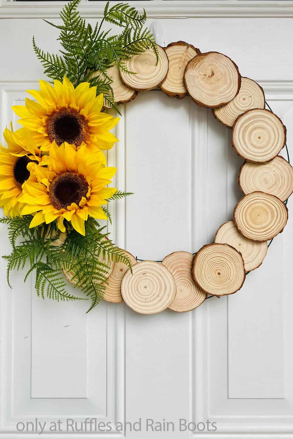 wood circle wreath with sunflowers for summer