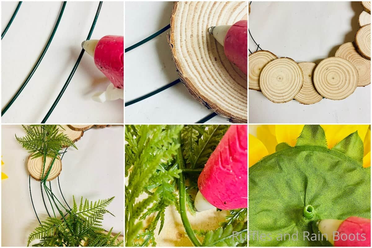 photo collage tutorial of how to make a wood round wreath for summer
