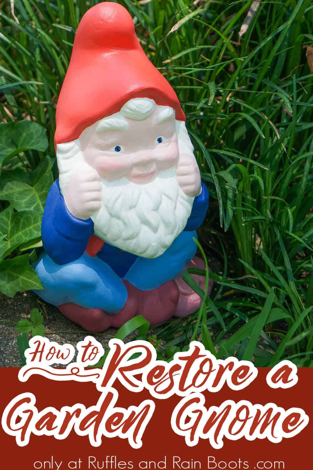 what to paint a garden gnome with with text which reads how to restore a garden gnome