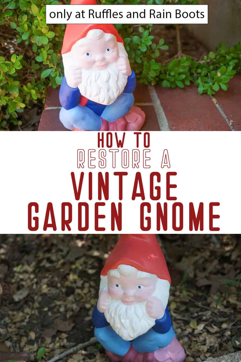 photo collage of repaint a garden gnome with text which reads how to restore a vintage garden gnome