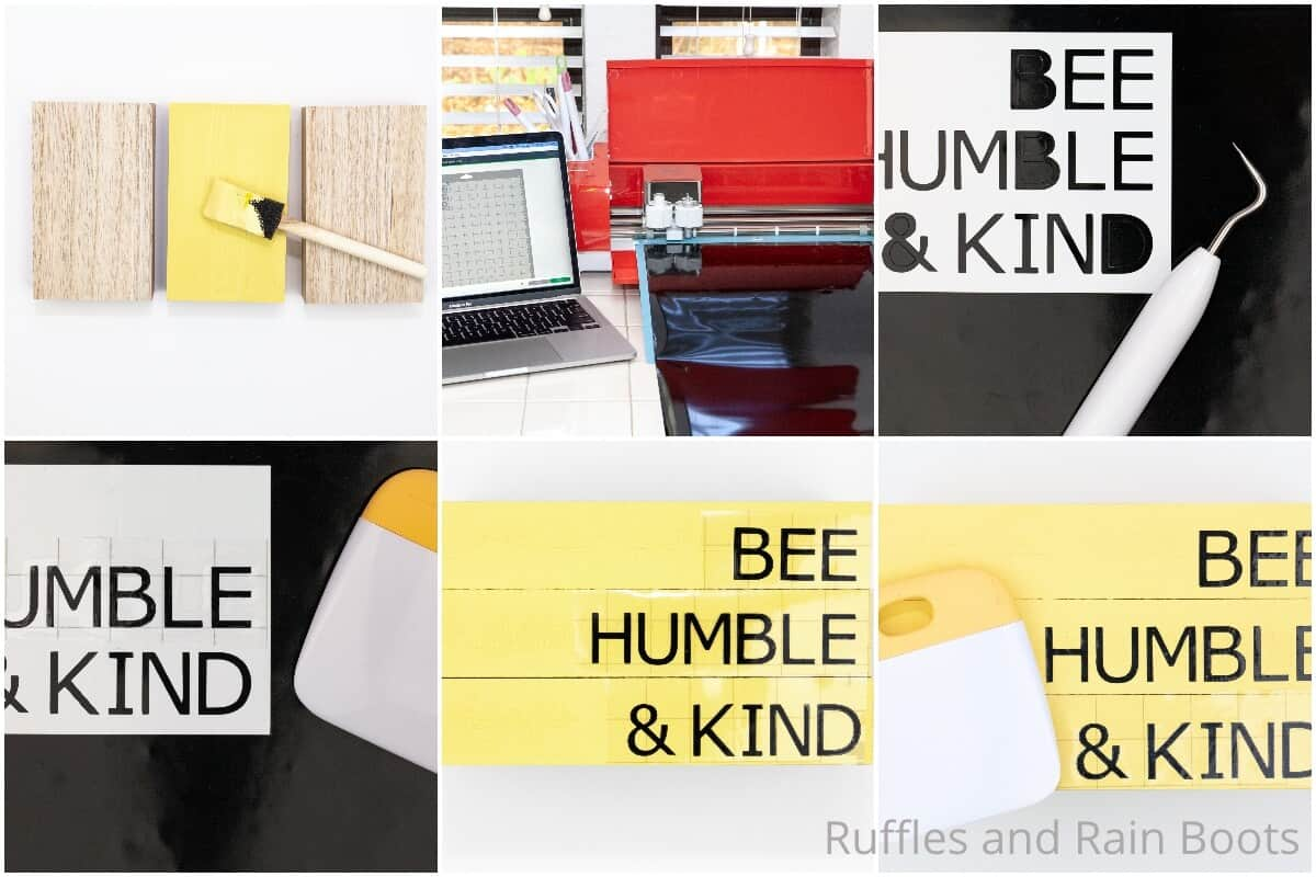 photo collage tutorial of farmhouse book stack bee themed