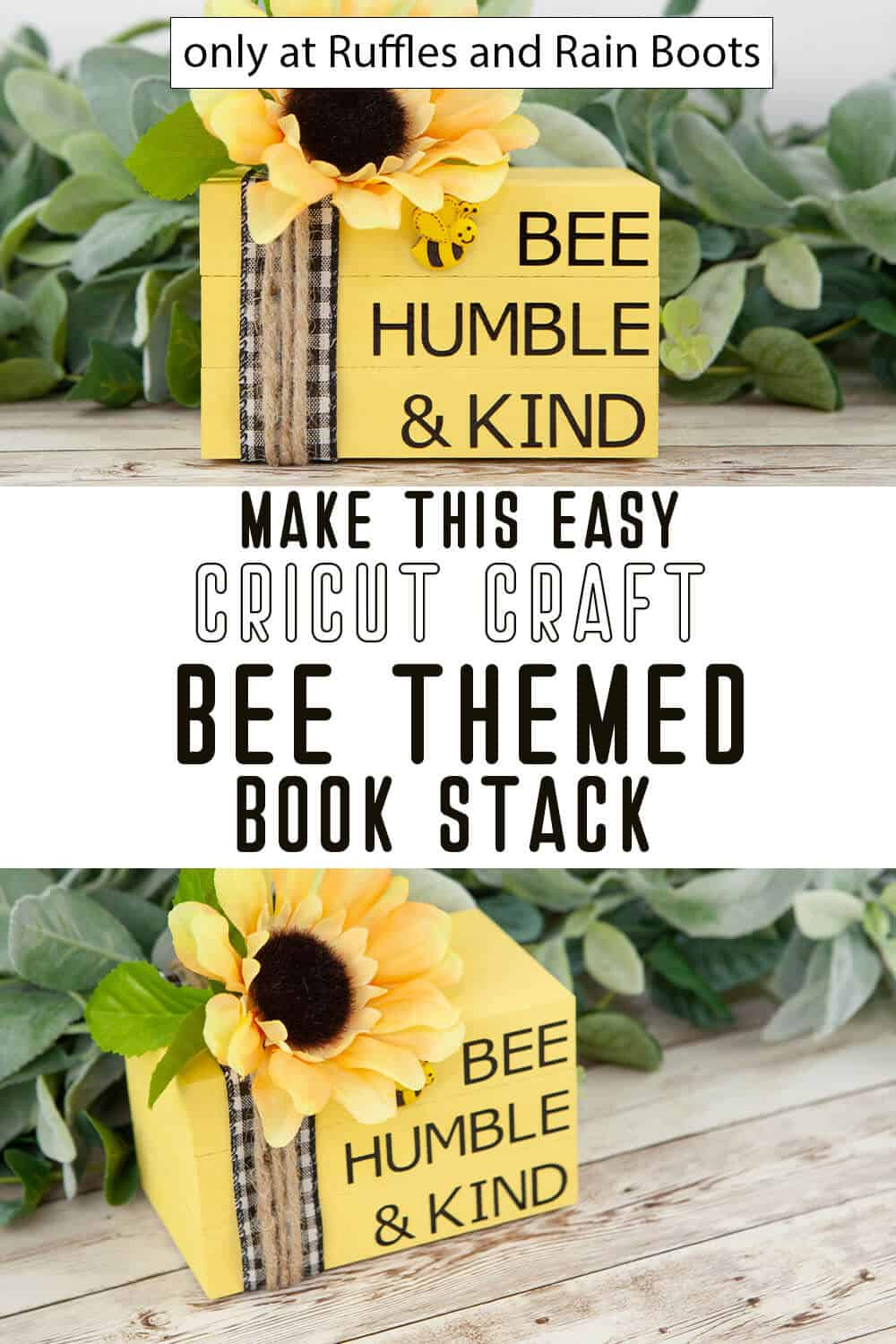 photo collage of easy cricut craft bee themed book stack with text which reads make this easy cricut craft bee themed book stack