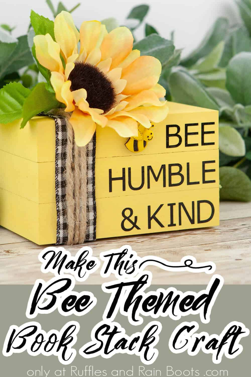 bee book stack craft for cricut with text which reads make this bee themed book stack craft