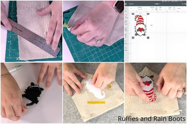photo collage tutorial of how to make a gnome banner for the holidays