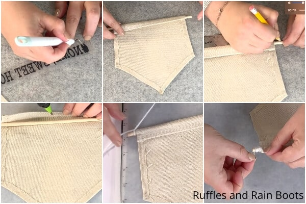 photo collage tutorial of how to make a drop cloth gnome banner