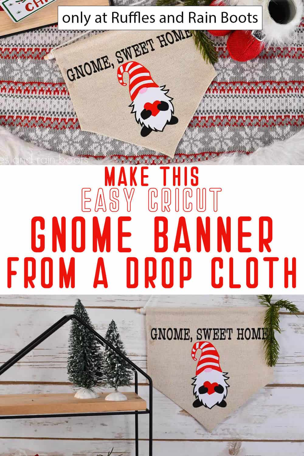 photo collage of drop cloth gnome banner with text which reads make this easy cricut gnome banner from a drop cloth