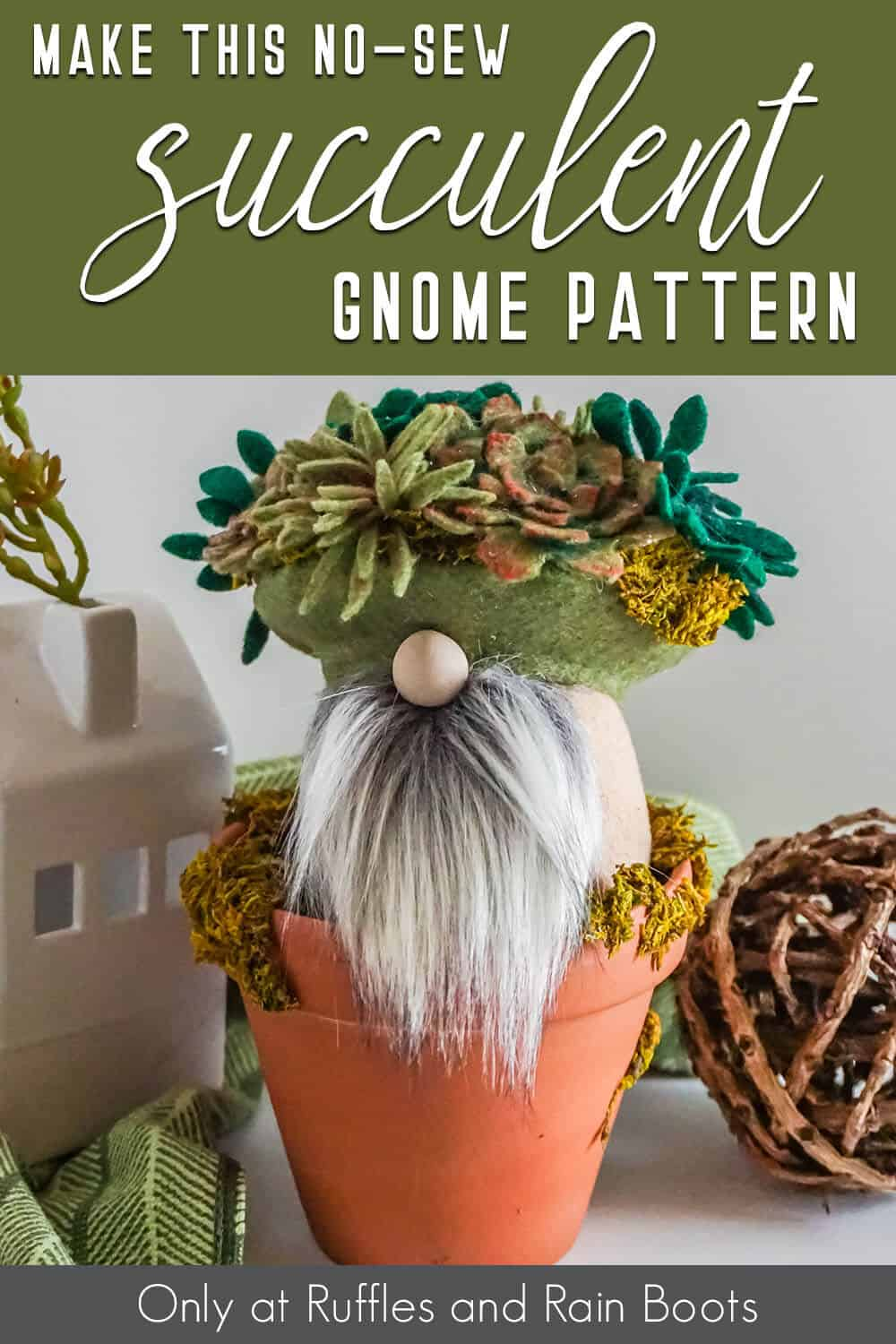 succulent hat gnome with text which reads make this no-sew succulent gnome pattern