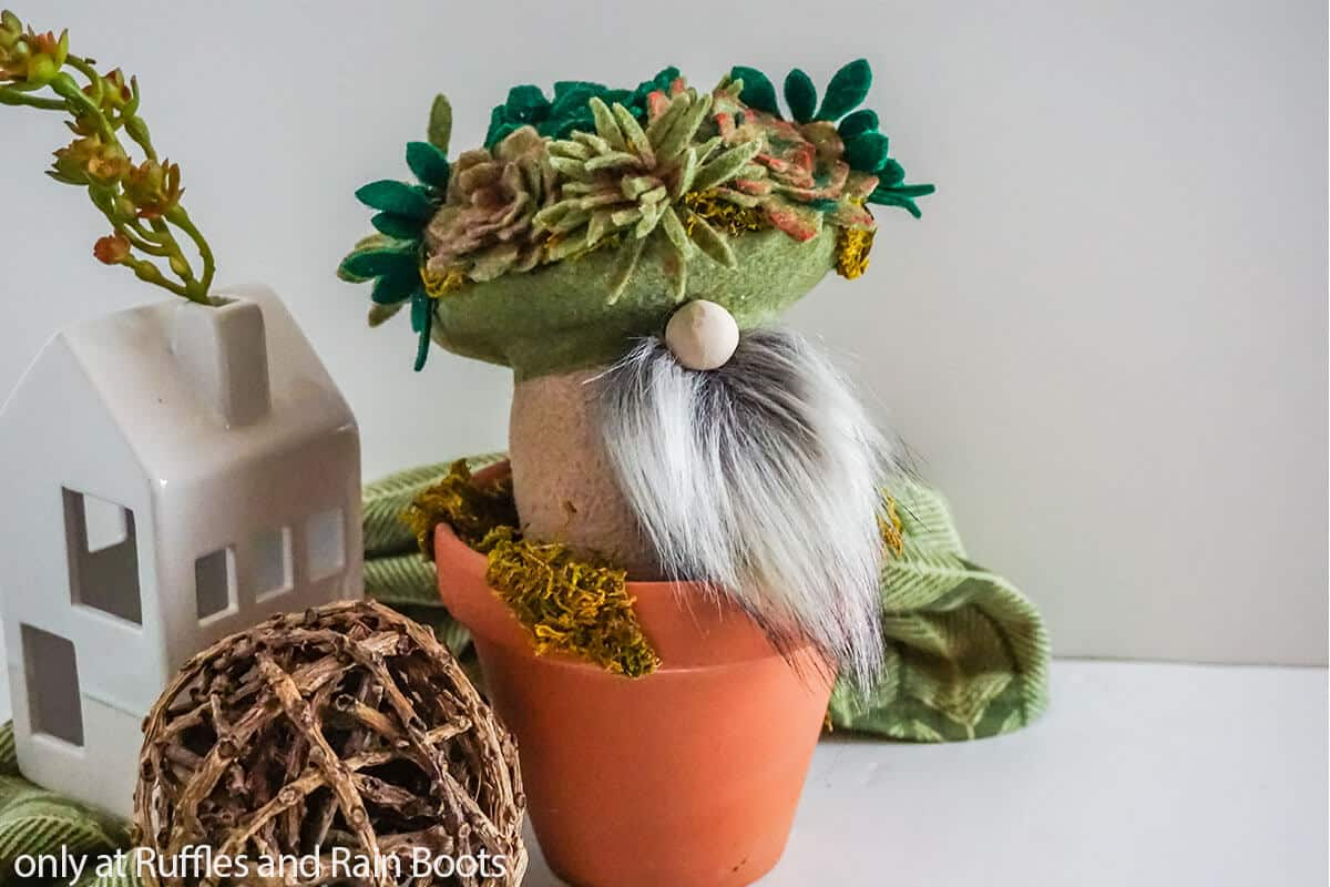 no-sew gnome with succulent on top