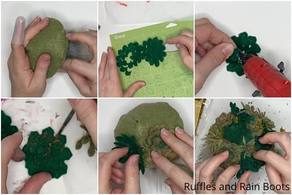 photo collage tutorial of how to make a gnome with a succulent hat