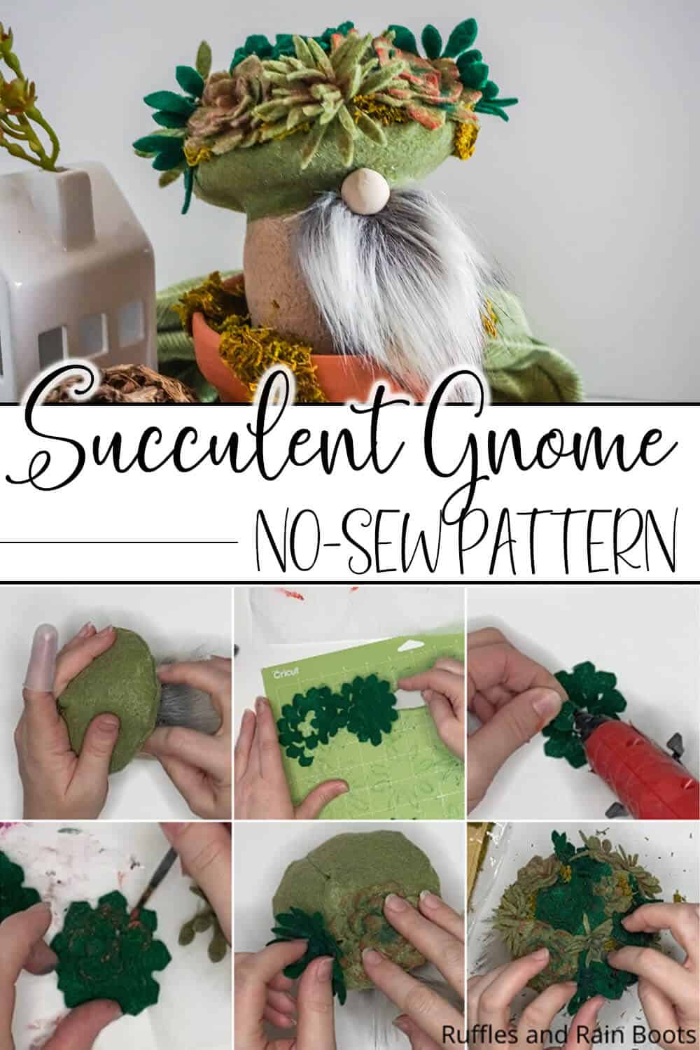 photo collage of diy gnome with succulents on its head with text which reads succulent gnome no-sew pattern