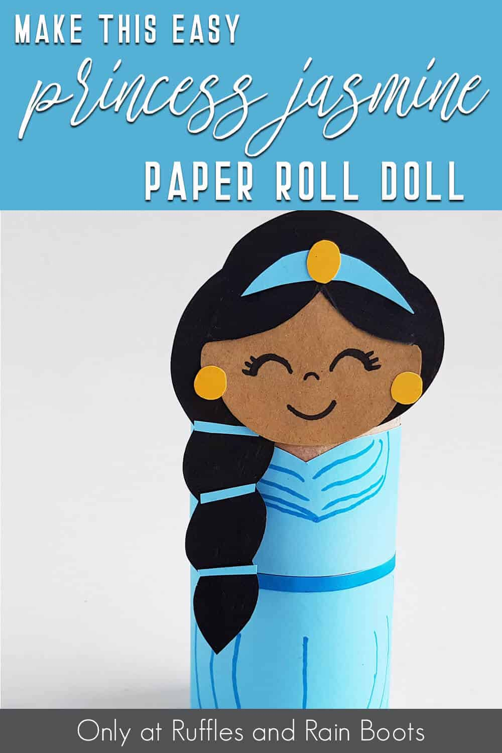 princess jasmine paper kids paper craft with text which reads make this easy princess jasmine paper roll doll
