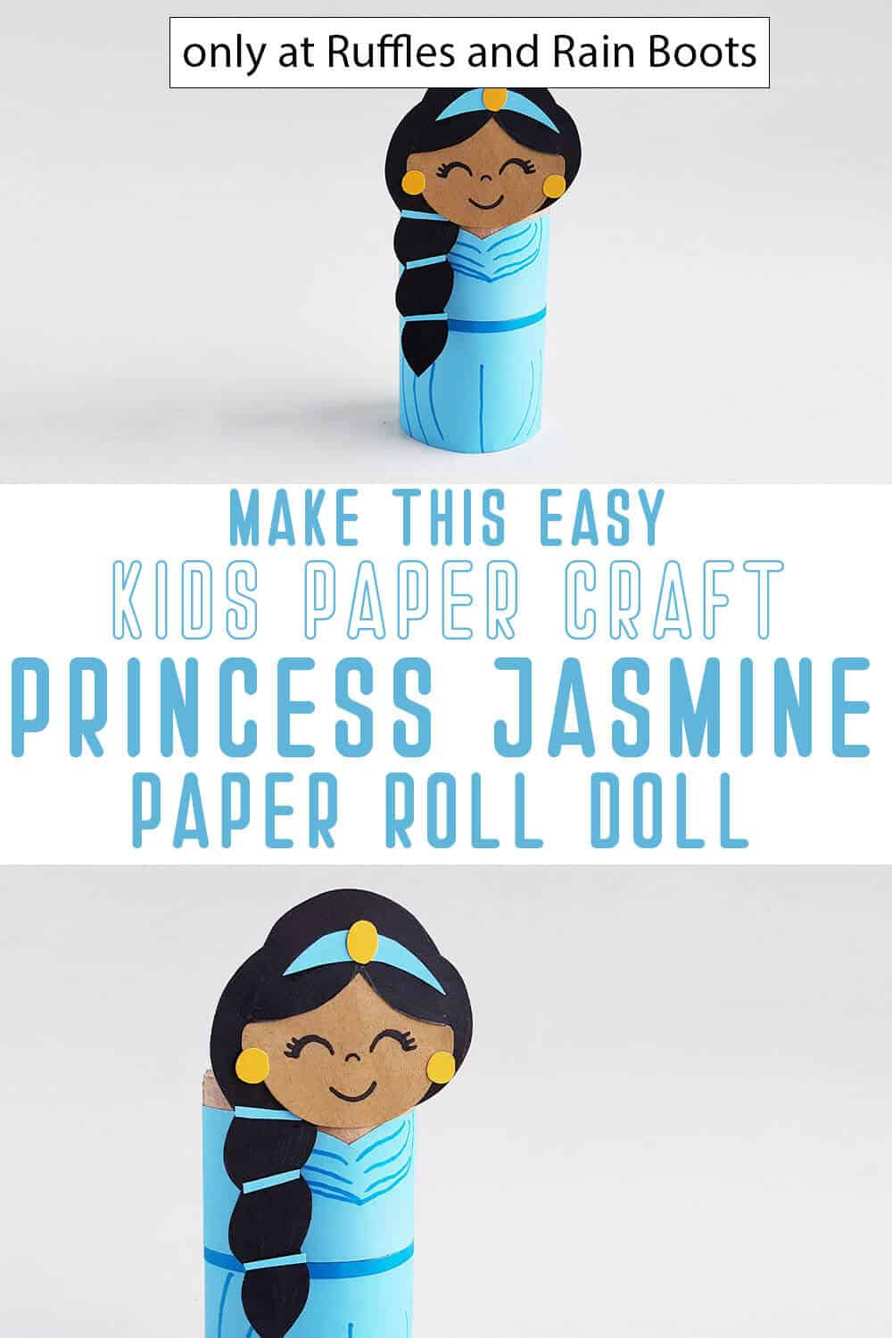 photo collage of princess jasmine paper craft for kids with text which reads make this easy kids paper craft princess jasmine paper roll doll