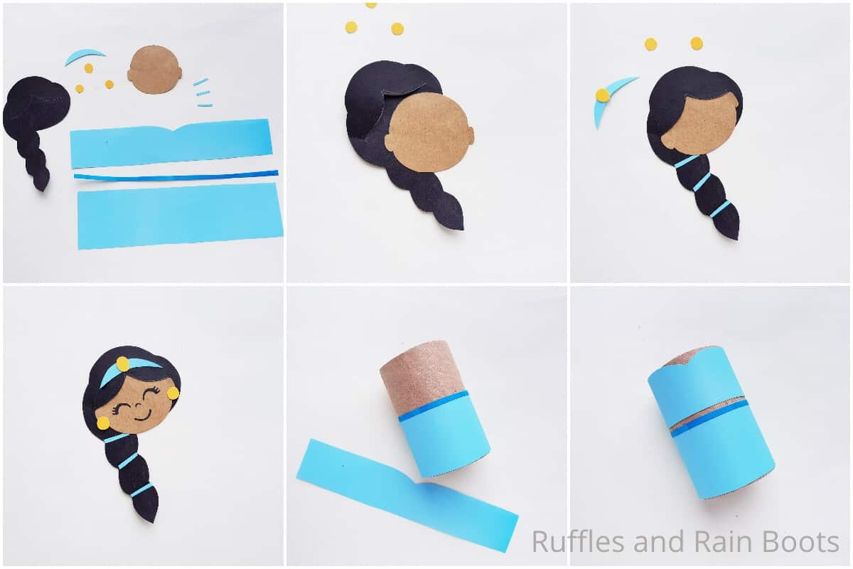 photo collage tutorial of how to make a princess jasmine paper doll