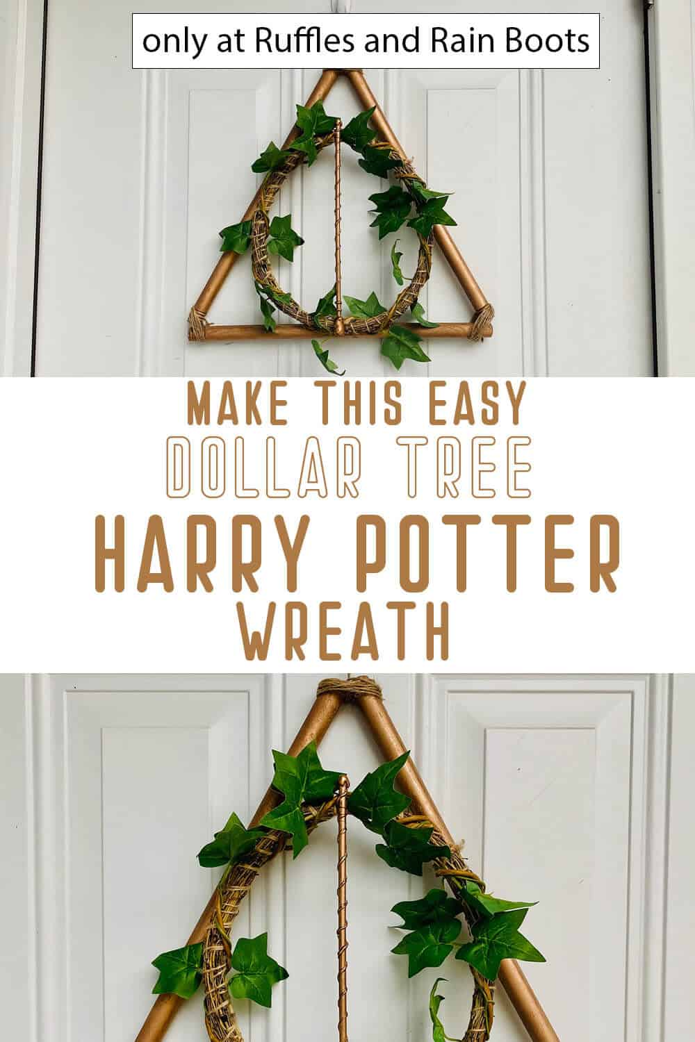 photo collage of harry potter dollar store craft wreath with text which reads make this easy dollar tree harry potter wreath