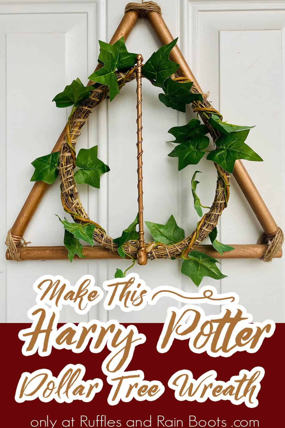 dollar store harry potter always wreath with text which reads make this harry potter dollar tree wreath
