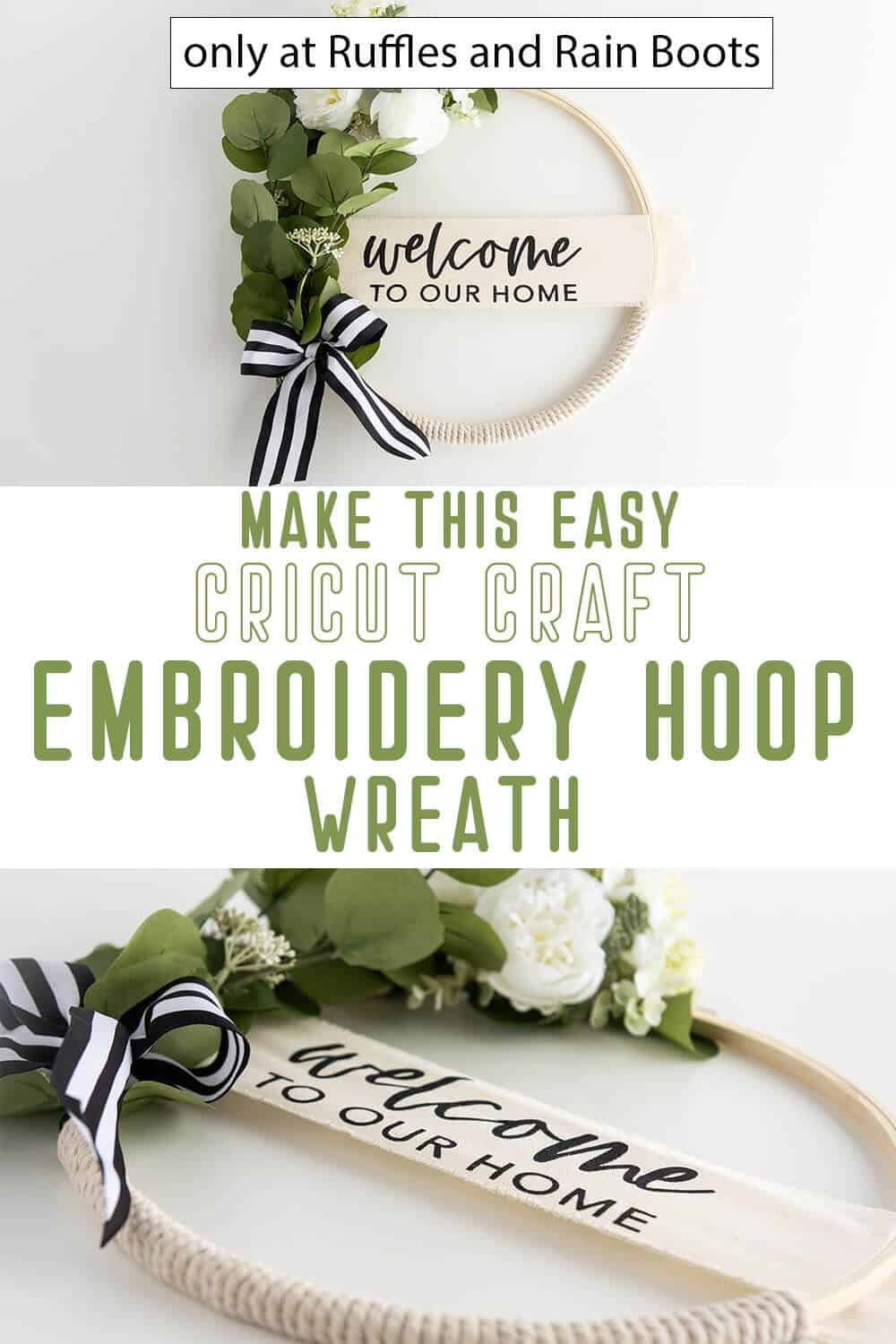 photo collage of diy cricut wreath craft with an embroidery hoop with text which reads make this easy cricut craft embroidery hoop wreath