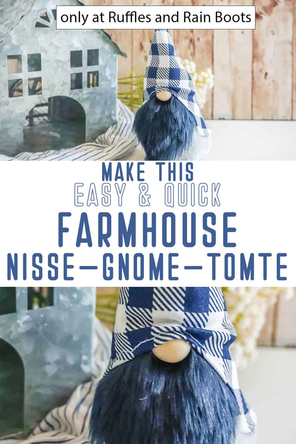 photo collage of easy gnome pattern for farmhouse decor with text which reads make this easy and quick farmhouse nisse gnome tomte