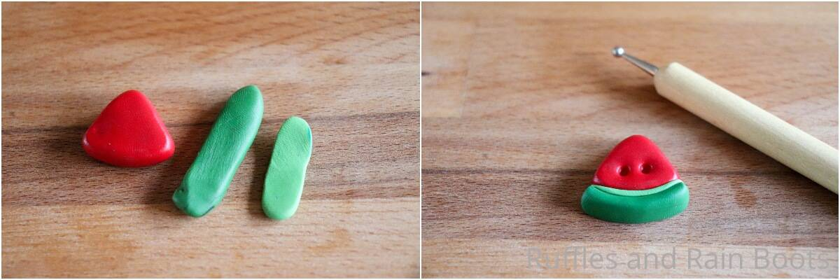 photo collage tutorial of how to make clay watermelon