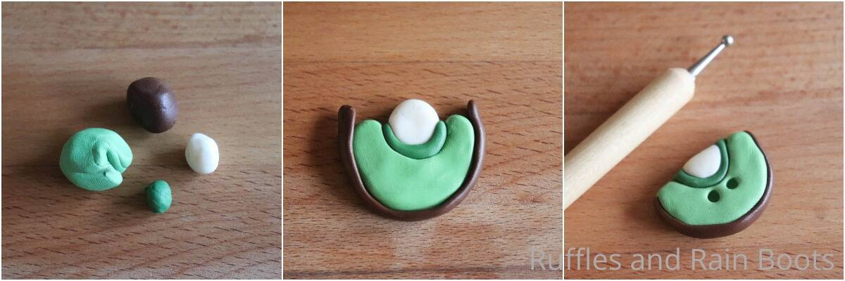 photo collage tutorial of how to make clay kiwi
