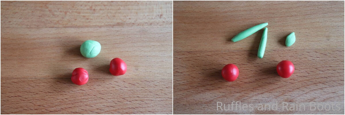photo collage tutorial of how to make clay cherries