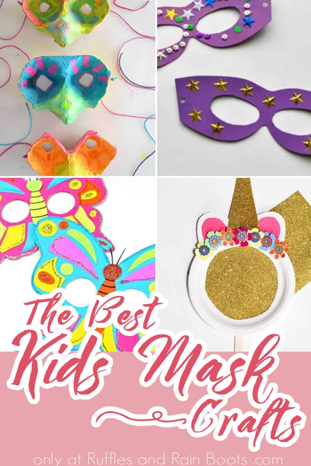 photo collage of diy mask crafts for kids with text which reads the best kids mask crafts