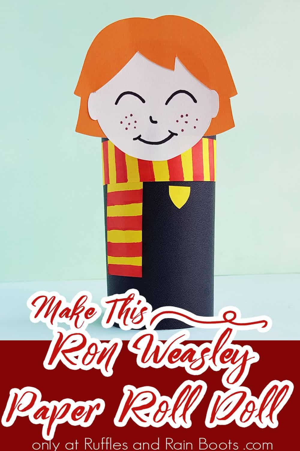 ron harry potter paper craft with text which reads make this ron weasley paper roll doll