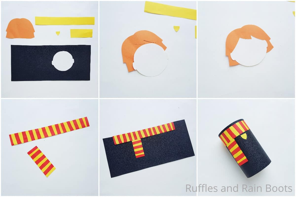 photo collage tutorial of how to make a ron weasley paper roll doll for harry potter craft