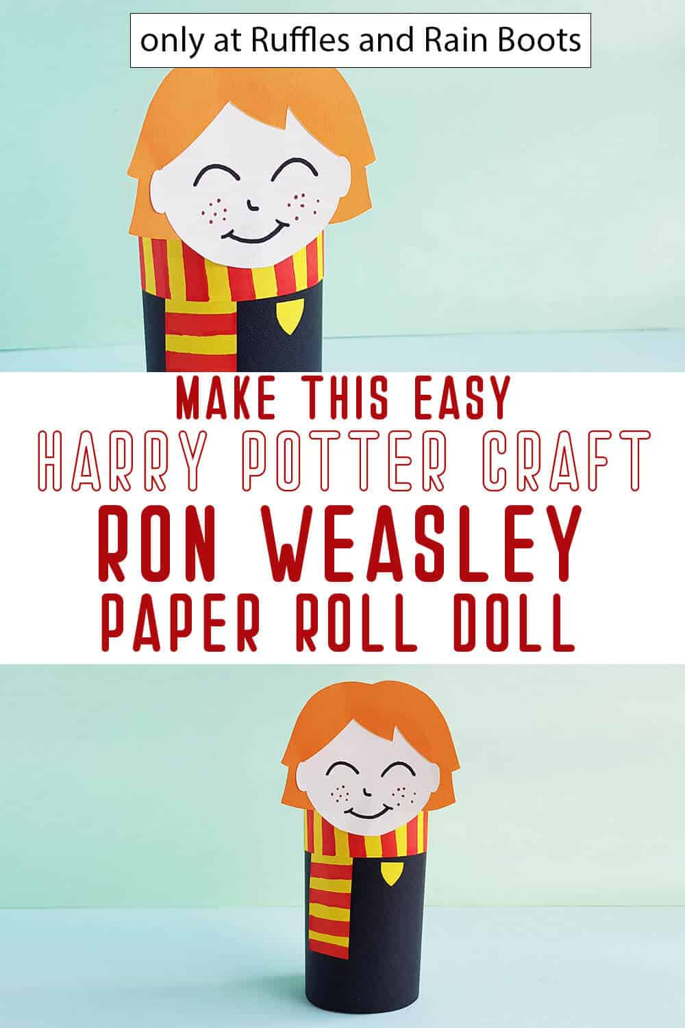 photo collage of harry potter craft ron weasley paper roll doll with text which reads make this easy harry potter craft ron weasley paper roll doll